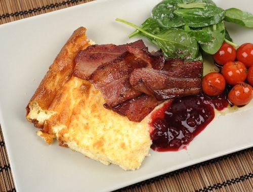 Äggakaka skånsk pancakes with bacon and lingonberries