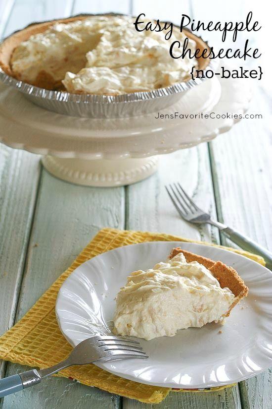 Easy No-Bake Pineapple Cheesecake from JensFavoriteCookies.com
