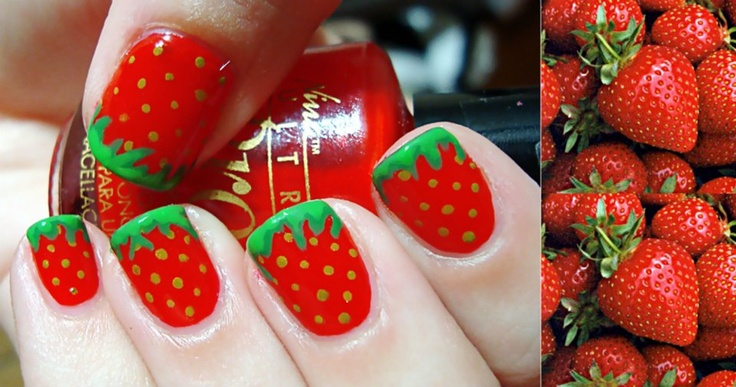 strawberry red and green nail polish art