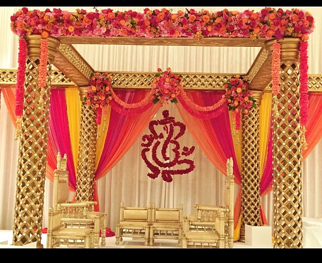 Florida Indian wedding decor for a South Indian, Hindu wedding in the summer. Mandap design and floral by Nikun Events