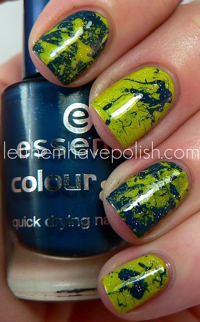FUN: Schools Colors, Nails Art, Nails Design, Paintings Splatter, Splatter Mani, Splatter Nails, Planets Earth, Marbles Nails, Blue Nails