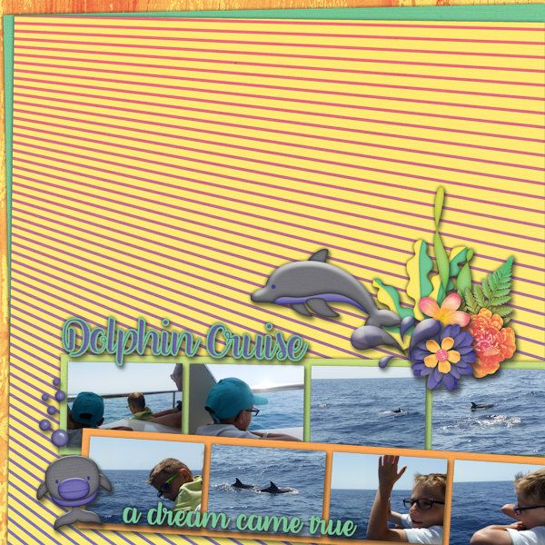 Dolphin Cruise - DIgital Scrapbooking Layout I created using August 2016…