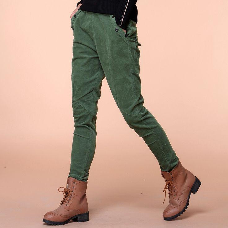 Женская новых осень и зима сплошной вельветовые брюки загущающие теплые широкий брюки женские свободного покроя тощий шаровары бесплатная доставка