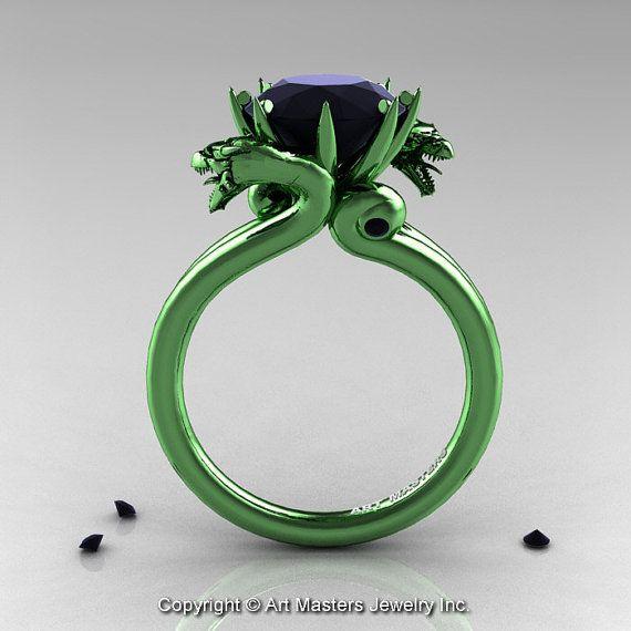 Art Masters 14K Green Gold 3.0 Ct Black Diamond by artmasters, $4259.00