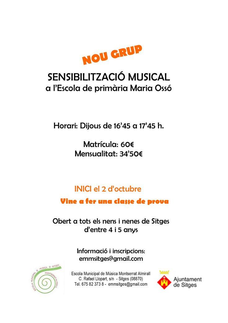 Sensibilització Musical a l'Escola Maria Ossó: nou grup.