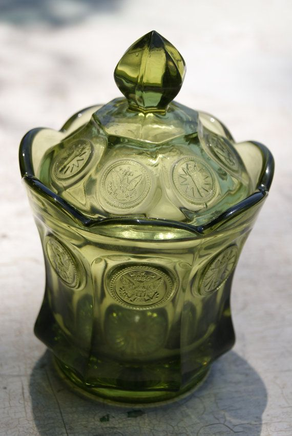 Olive Green Coin Glass Pattern Number 1372 Candy Dish And Cover By Fostoria Green Candy