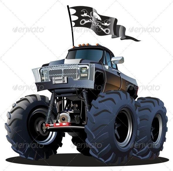 Cartoon Monster Truck  #GraphicRiver         Vector Cartoon Monster Truck. Available hi-res JPG, PNG with transparency, EPS-10, and AI-CS4 vector formats separated by groups and layers for easy edit Also you can check at my Collections:  Vector Cartoon Cars  Vector Cartoon Trucks  Detailed Vector Cars modern and retro  Detailed Vector Trucks Vans Tractors and Pickups  Detailed Vector realistic and cartoon styled Buses  Vector aircrafts, airplanes, retro, modern, blueprints, silhouettes and…