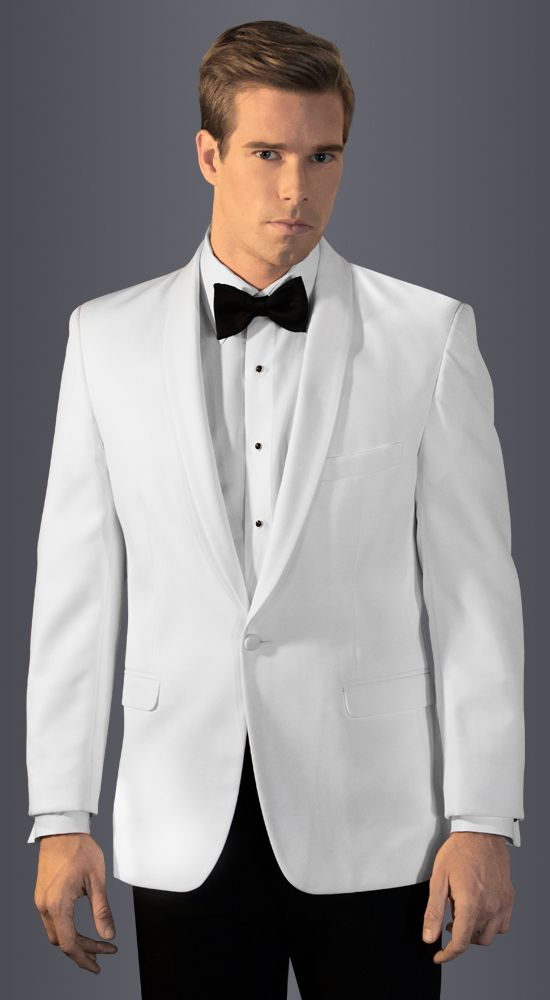 White Casablanca Dinner Jacket in slim fit, 1-button shawl lapel.  Available at #FriarTux