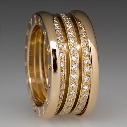 bulgari bzero1 diamond ring 18k yellow gold