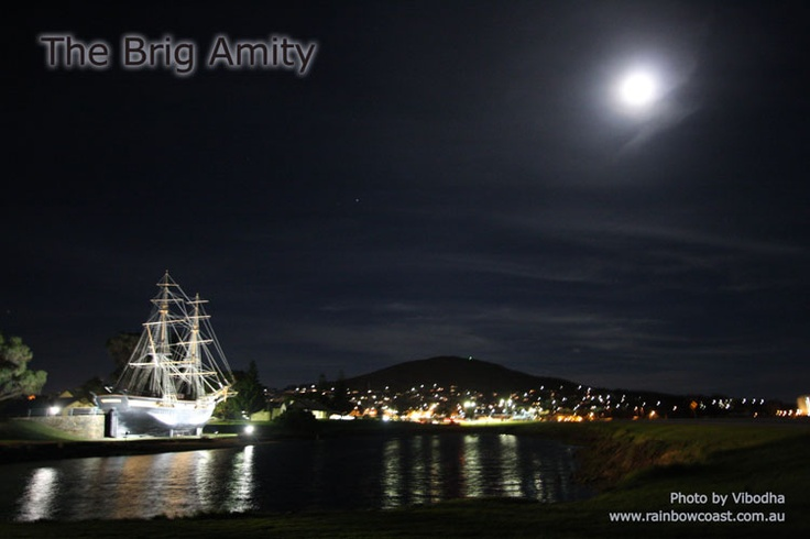Full moon over the Brig Amity in Albany, Western Australia. Replica of the first ship to arrive and settle in Western Australia.