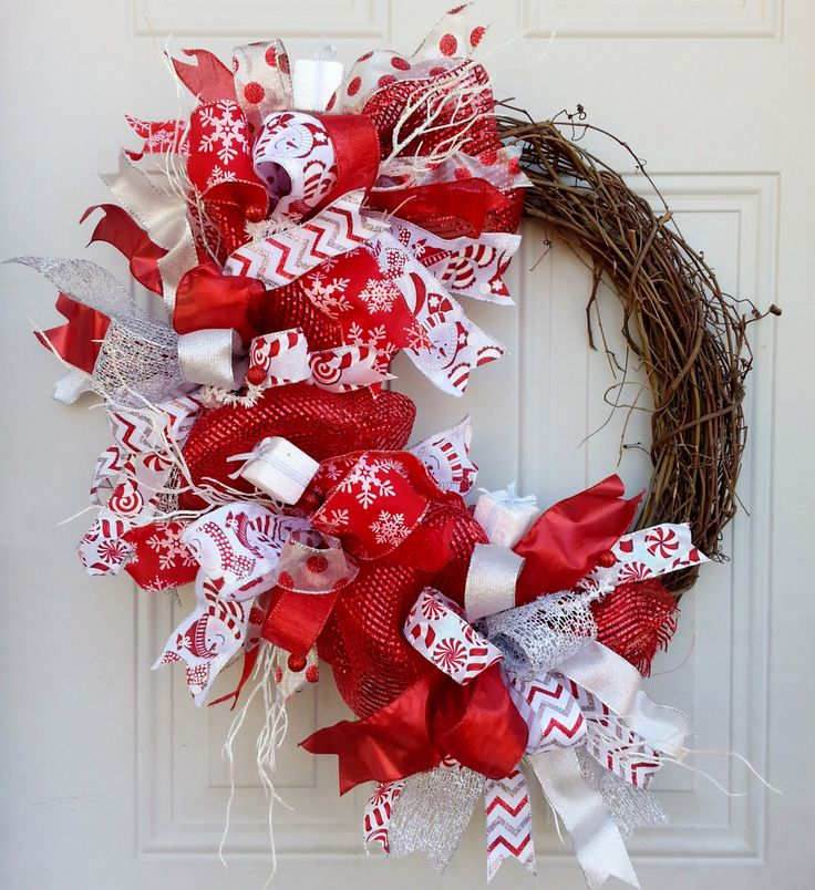 Grapevine Christmas wreath Whimsical Grapevine wreath Christmas wreath Red and white Holiday wreath Christmas door decorations Wall decor by AdoorableAdoornament on Etsy https://www.etsy.com/listing/208277334/grapevine-christmas-wreath-whimsical