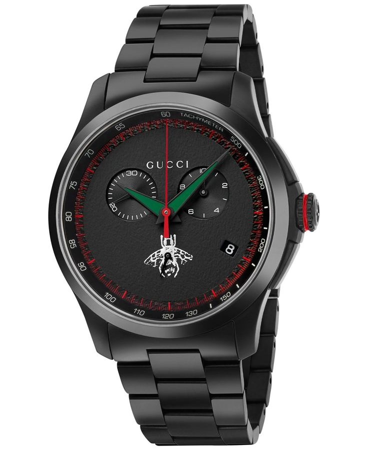 Gucci Men's Swiss Chronograph G-Timeless Black Pvd Stainless Steel Bracelet Watch 44mm YA126269