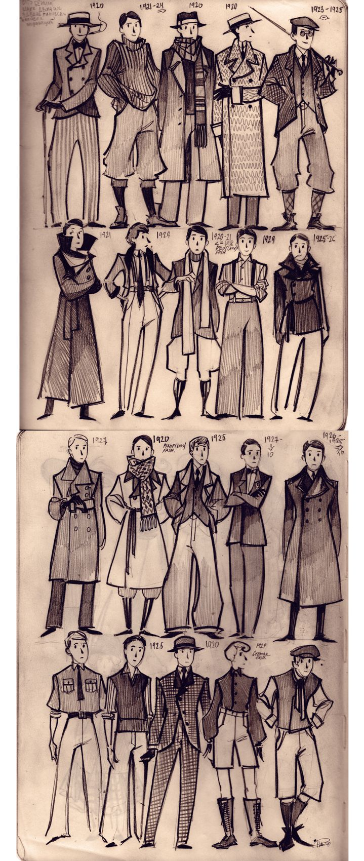 1920's MEN'S FASHION - often characterized by suit jackets and high waisted pants (The Twenties, Thirties, and WWII). I love all these, though the timeline goes past the 20s decade.