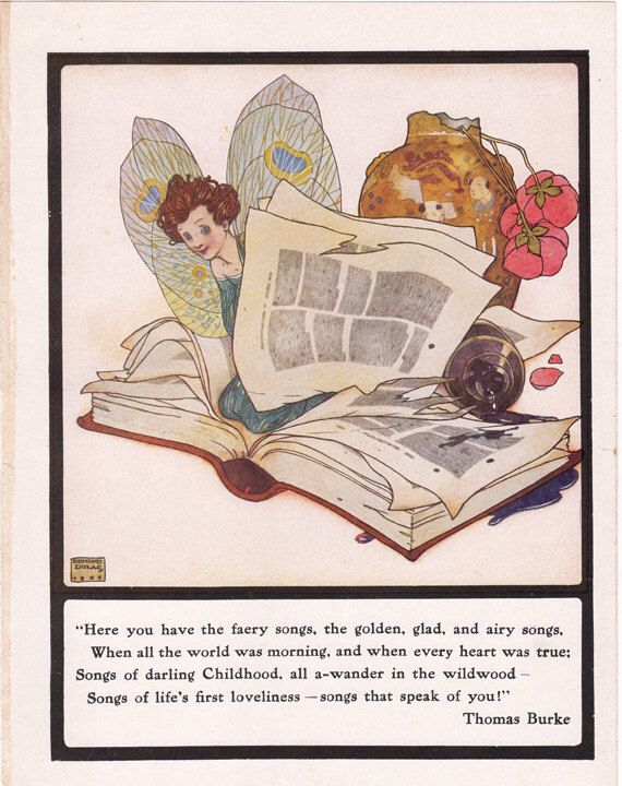 Edmund Dulac illustration of fairies with a book, a page from a 1930's fairy tale book