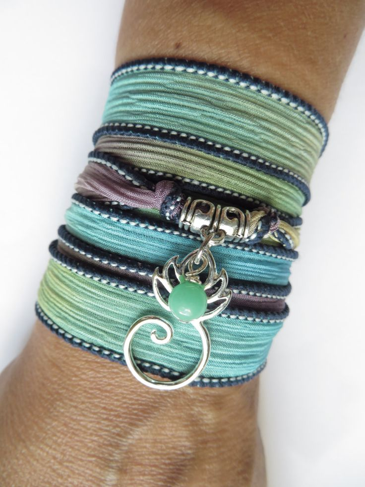 Silk Wrap Bracelet With Lotus FlowerYoga BraceletYoga by HVart, $28.95