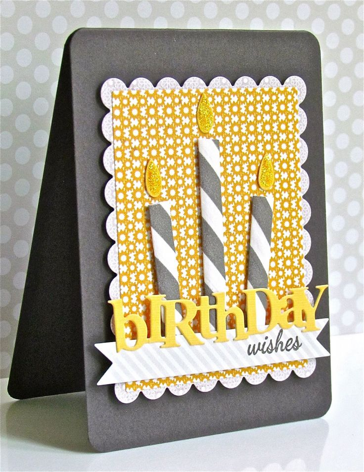Love the colors of yellow and grey on this handmade birthday card!  The candles are flattened paper drinking straws, with yellow-glittered flames.  The front panel is sunny yellow and white pattern on white with a faux stitched scalloped edge.  Use chipboard or layers of die cut letters to spell birthday and your favorite stamp to create the rest of the sentiment.