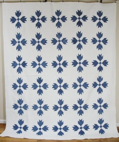 Antique 1880's Blue and White Bears Tracks Quilt 12 SPI | eBay