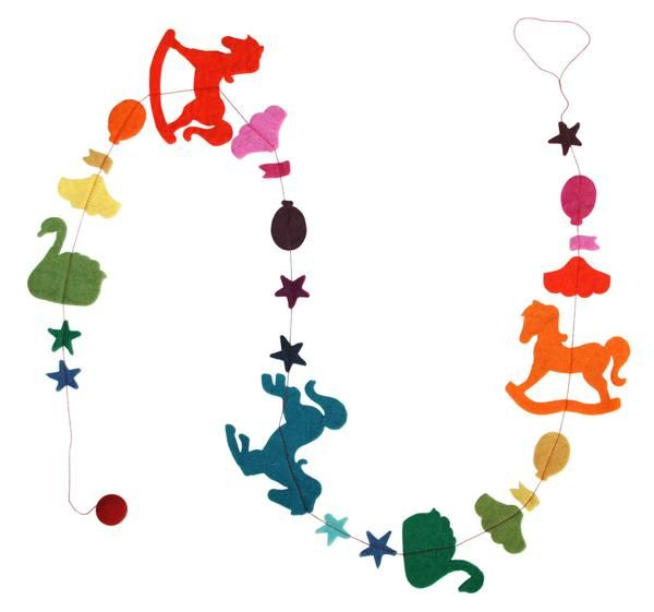 Fair trade felt baby and kids gift and nursery decor. Made in Nepal. Gentle and fun, the felt Rocking Horse Garland is a gorgeous pop of colour for your nursery. $12.90
