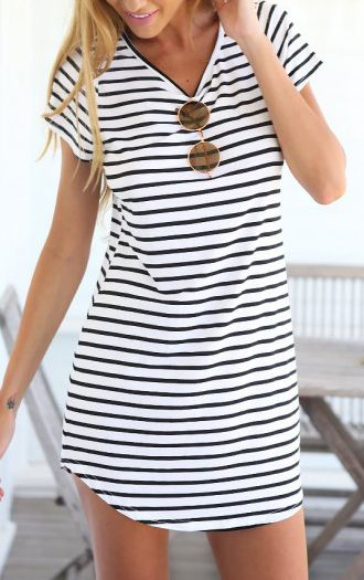 Black White V Neck Striped Slim Dress - Sheinside.com