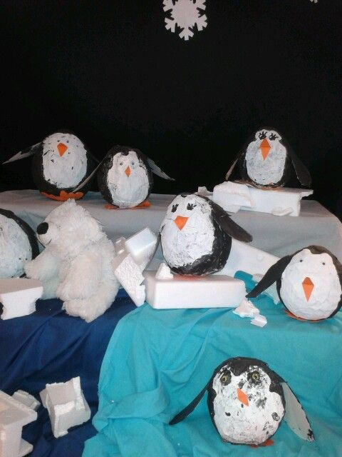3d knutsel: Pinguins papier maché