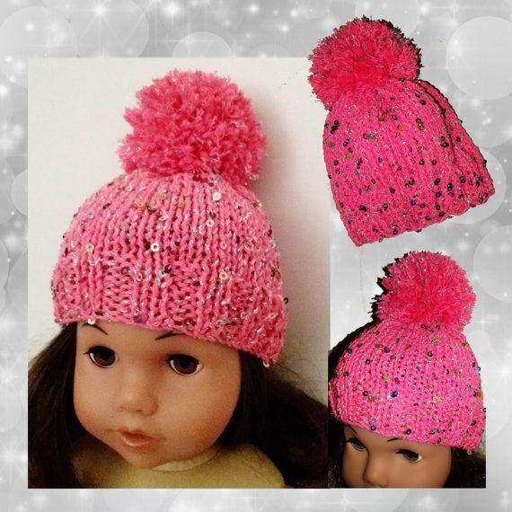Cappello con pom pom rosa e paillettes per di RobysDollsFashion