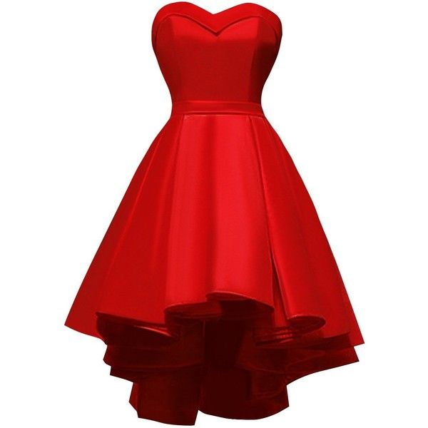 Amazon.com: Chengzhong Sun Women's Ball Gown High Low Lace up... (£64) ❤ liked on Polyvore featuring dresses, red dress, red prom dresses, hi low prom dresses, hi lo prom dresses and red high low dress