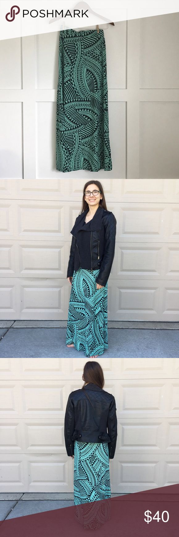 """Aztec Maxi Skirt Super soft. Elastic waist.Light teal and black abstract Aztec print.   Made of 92% polyester, 8% spandex Size S Measurements: Waist to hem approx. 38"""".                               Check my closet for more color options! Skirts Maxi"""