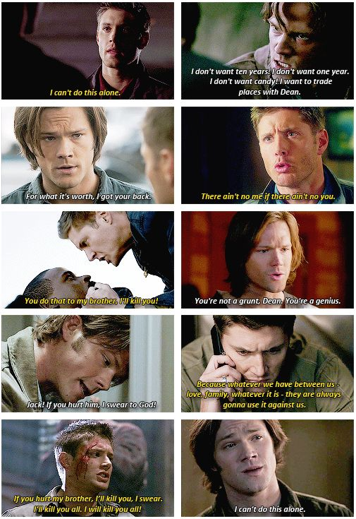 """This is just proof how old the whole """"I'm leaving you because we either aren't getting along or I'll put you in danger but then I'll come back because I CANT DO THIS ALONE schtick is. Seriously, how many times has one or the other left? If supernatural has one flaw it's this."""