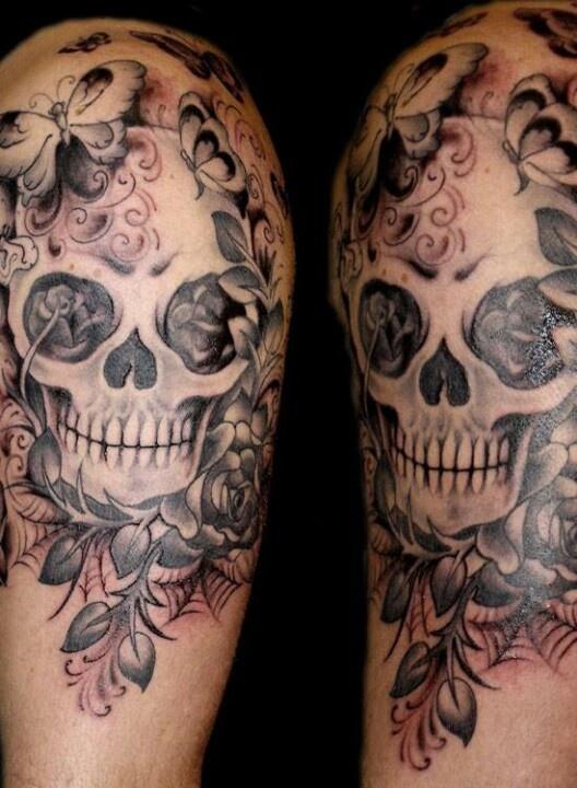 Skull web flower tattoo tattoos pinterest flower for Skull and flowers tattoos