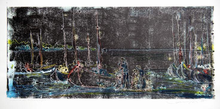 """Gabriele Camilli - Title : """"Sapore di mare, Marina di Porto San Giorgio"""" - Personal technique: Cromomonotipo su carta rosa spina - Dimension : cm 100 x 70 - Year : 2014"""