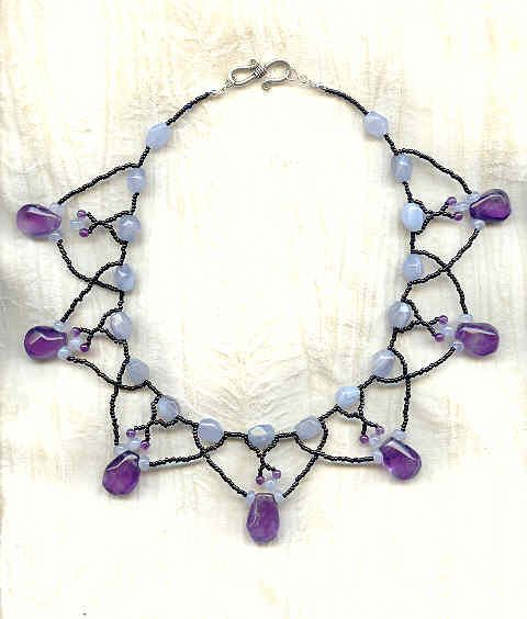 Amethyst and Sky Blue Chalcedony Artisan Crafted Collar Necklace