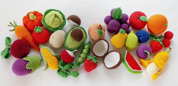 Crochet fruit and vegetable set (25 pcs) /Pretend Play/ Kitchen Play Food/ Crochet Toy /Kitchen food/Crochet food /pineapple/coconut/avocado   Choose your own set of 25 crops! The set consists of vegetables:  pumpkin a tomato green pea eggplant carrot Green onion corn mushroom