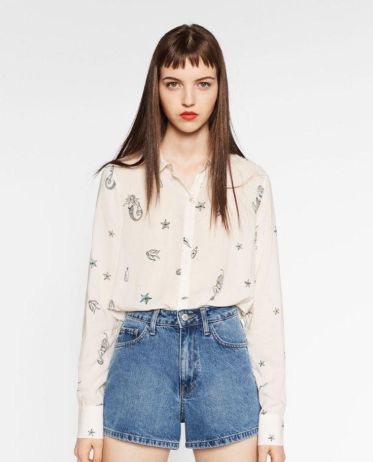 Image 2 of MERMAID-PRINT SHIRT from Zara