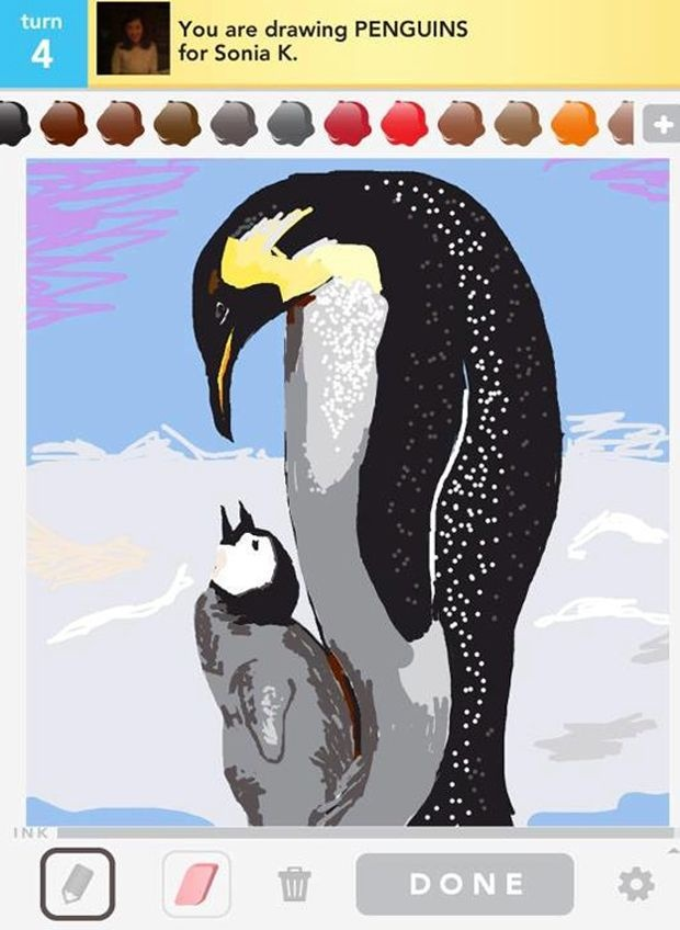 draw something - penguins   Love this game! But I am not even close to being this good. :P