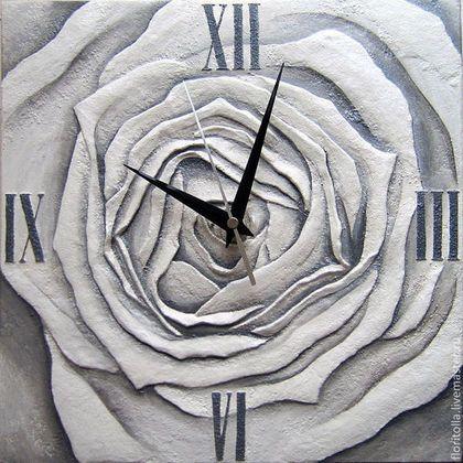 """3D clock / Часы для дома ручной работы. Ярмарка Мастеров - ручная работа. Купить Часы в объемной технике """"Сердце розы"""". Handmade. Серый"""