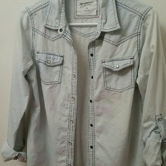 Blue Button Up Shirt A long sleeve light Sky Blue button up shirt. Has a button loop to make it a mid sleeve. In great condition,  hardly worn. Arizona Jean Company Tops Button Down Shirts