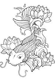 I really like this simple design of a koi fish and lotus flowers.
