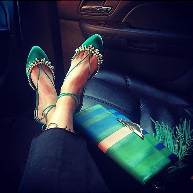 Gone green with @bat_gio. Our 'Alexa Jewel' flats in emerald green, available at @aquazzuraboutiques, @barneysny and @mytheresa.com. #aquazzura #aquazzuragirls