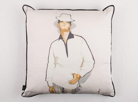 Cushion L'homme mysterieux group cushion Poser, Rene Gruau by Zinc 55cm x 55cm available