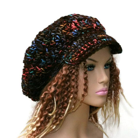 Brown multi Slouchy Beanie Cap, Visor Hat, Bohemian Slouchy Newsboy Hat, Billed Beanie bill beanie hat, woman slouch tam, thick visor beanie