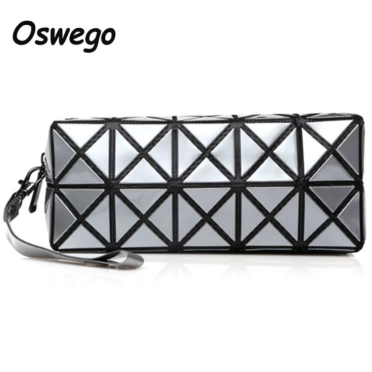 New Geometric Lattice Zipper Travel Cosmetic Bag Women Laser Diamond Makeup Bag Ladies Wash Tool Organizer Storage Bags for Lady