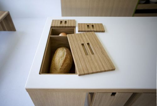 No room for a traditional breadbox on the counter? Tuck it deep within the island. You could also stash utensils or other kitchen gear inside.