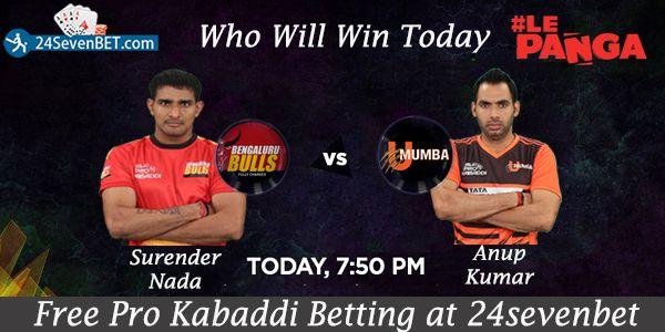 Pro Kabaddi #Betting 23rd Match Bengaluru Bulls Vs U Mumba. Predict Who Will #Win Today's Match. Place #Free Bet on Winning team & Win Amazing #Prizes Online at 24sevenbet
