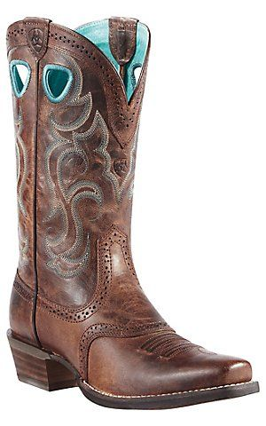 Ariat® Rawhide™ Ladies Sassy Brown Punchy Square Toe Western Boot | Cavender's Boot City