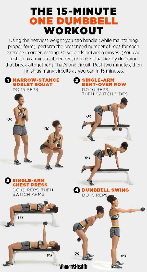 For a quick one-dumbbell workout. Diagrams you need to get in shape.| Buzfeed