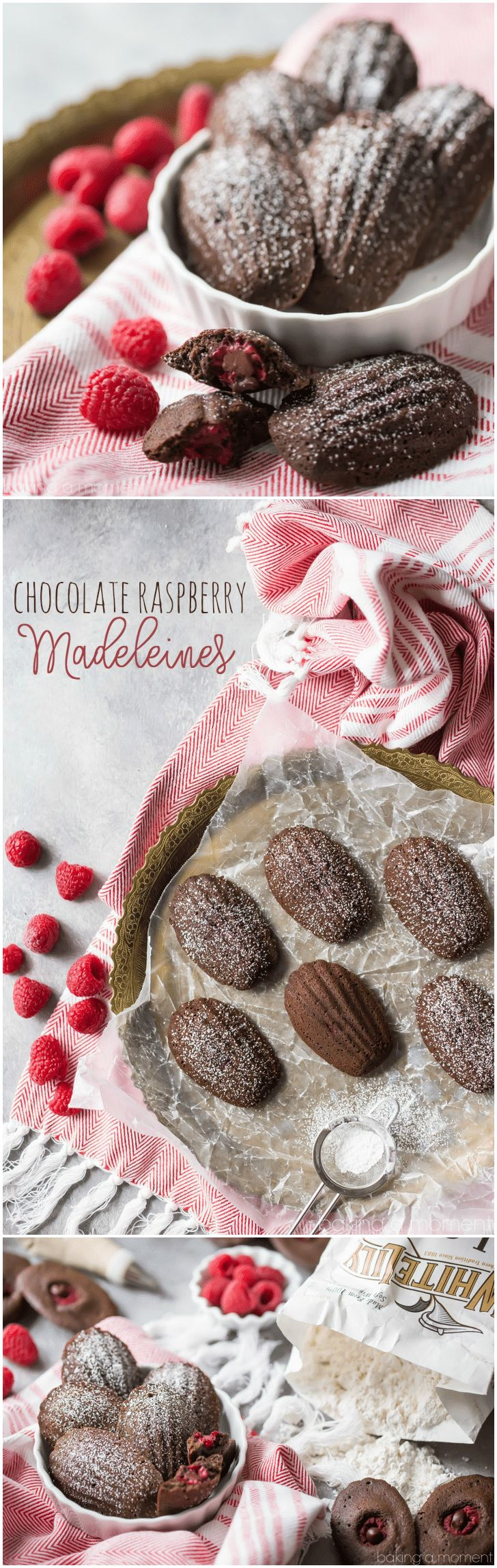 Chocolate Raspberry Madeleines: these little cakes are so perfect for a special occasion! Taste like a cake-y brownie, with a fresh raspberry baked inside. The shell shape couldn't be prettier! #BakeYourPassion #sponsored @White Lily