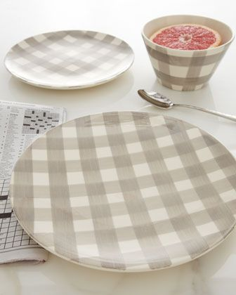 \ Gingham\  Dinnerware at Neiman Marcus - in dove gray. A contemporary look for a classic pattern. Love the bowl shape! & 164 best Gingham Style images on Pinterest | Blinds Chess and ...