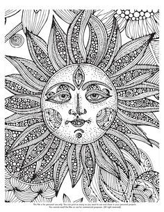Abstract Sun Coloring Pages For Adults Stencils Colors Adult