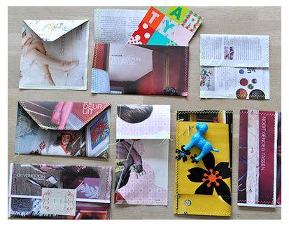 Deze keer geen DIY met stof, maar met papier. Ik kwam op het idee doordat ik onlangs een cadeaubon van Studio Soil ontving in een enveloppe gemaakt van een bladzijde uit een tijdschrift. Dat is nou wat je noemt recycling met een twist: je eigen enveloppes en