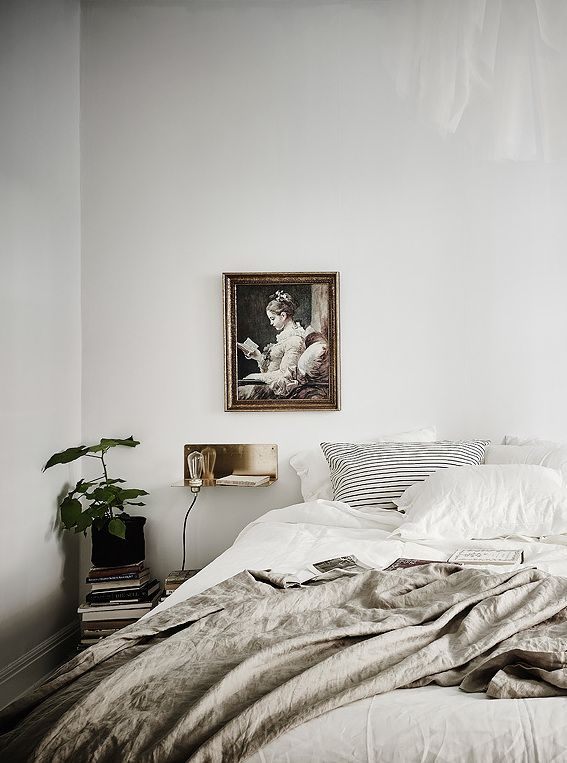 Both vintage and trendy bedroom in neutral colours. Nice colour mix for a master bedroom.